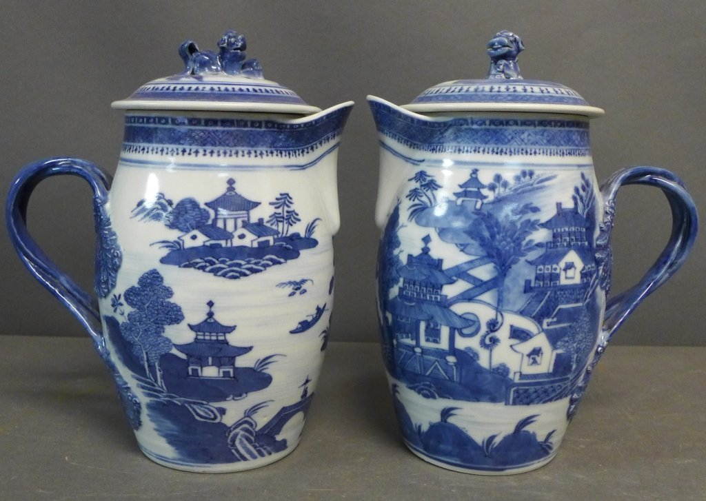 Pair Antique Nanking Cider Jars