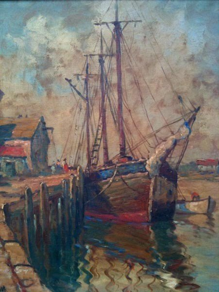 """1023: William Ward Jr. Oil on Canvas """"The Anchorage"""","""