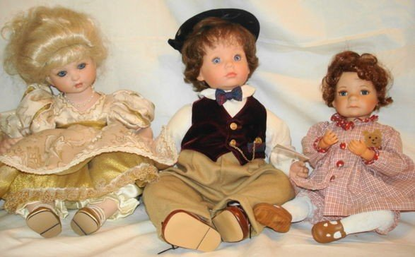 5: 3 pc porcelain dolls