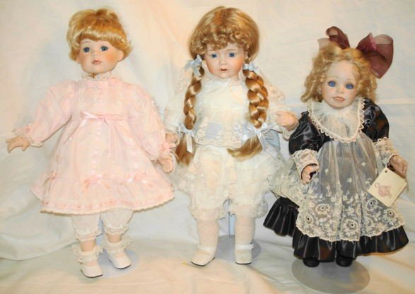 12: 3 pc. Porcelain doll lot