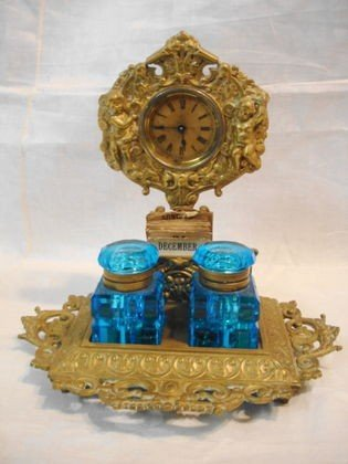 1006: Ansonia Desk clock w/ glass inkwells