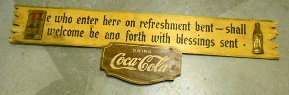 1004: Kay Coca Cola Wood & Tin sign