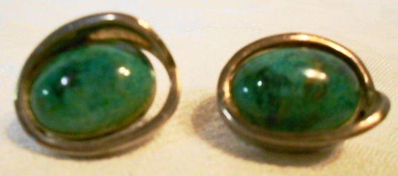 1017: Taxco sterling & malachite earrings