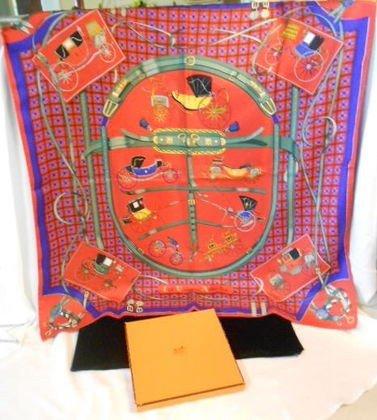 1019: Vintage Hermes silk scarf, original box