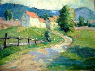 """1047: Horace Brown painting, sgnd """"Farm Scene"""""""