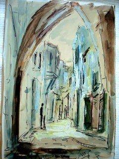 "1052: Zvi Raphaeli ""Street in Old Jerusalem"""