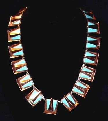 1015: Matisse Cleopatra Enamel & Copper Necklace