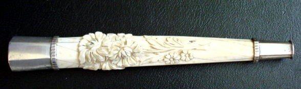 1003: Carved Ivory & Sterling Cane Handle