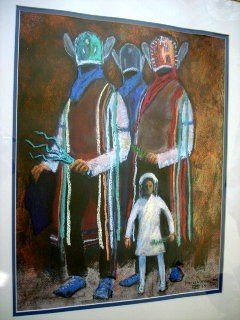 """1007: American Indian painting """"Matachines"""""""