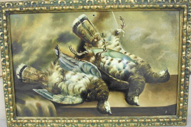 1022: Hand Painted Porcelain Plaque, Game Birds,