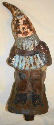 1006: Antique Iron Garden Gnome w/ Accordian