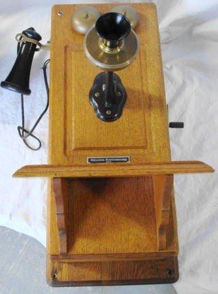 1011: Kellogg Country Oak Wall Phone c. 1900