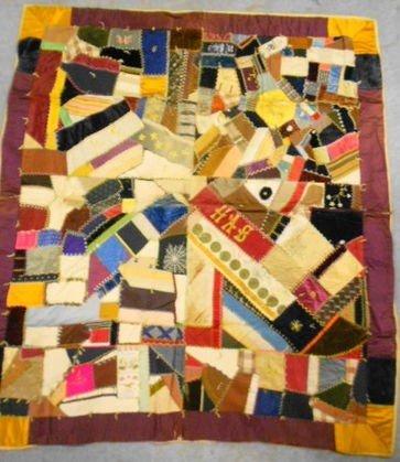 1012: Antique Crazy Quilt w/ Political Ribbons