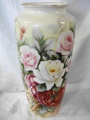 "1015: Hand painted Limoges 14"" Vase, J. Davis"