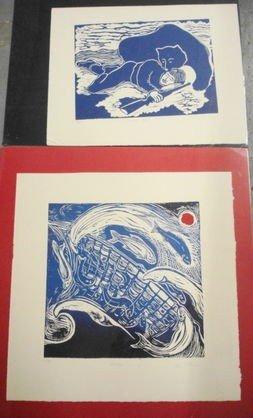 1017: 2 pc Woodblocks, Alaskan Artist K. Olonna