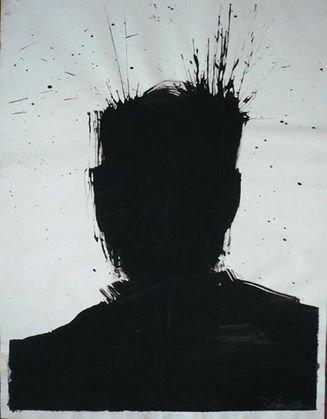 "1019: Richard Hambleton Shadow  Painting ""Hair Spray"""