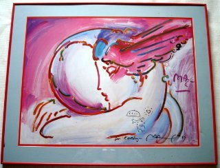 1020: Original Peter Max Drawing on Hand Signed Poster