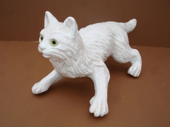 1001: Bavent French Pottery Cat with glass eyes