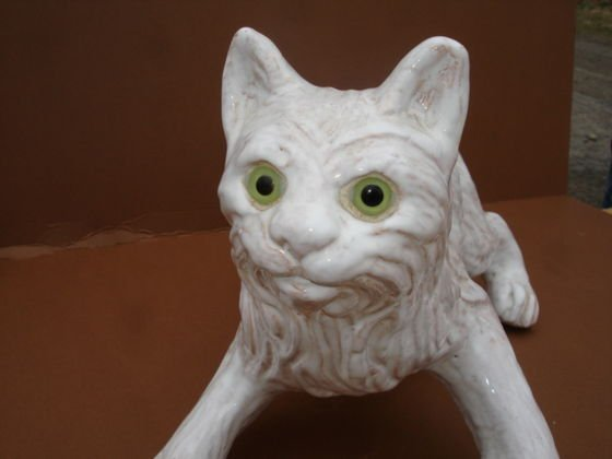 1001: Bavent French Pottery Cat with glass eyes - 2