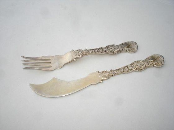 1008: Moors & Leding Sterling Serving Knife & Fork