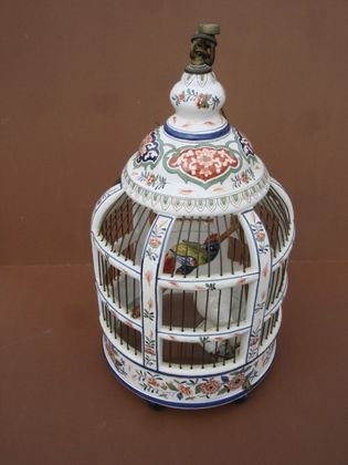 1015: French Faience Bird Cage Lamp