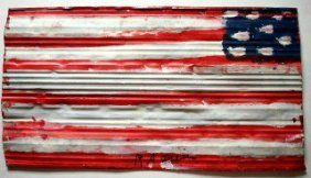 "1005: Graffiti Painting: "" America"" Signed"