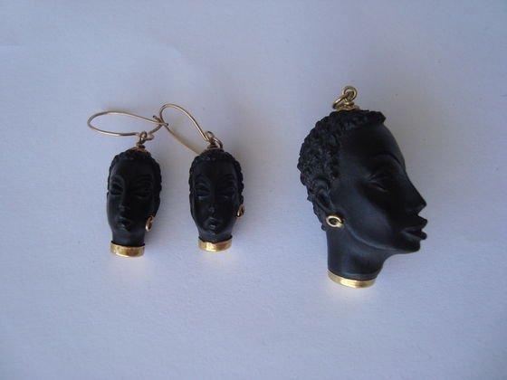 1006: 18k Blackamoor Pendant & Earrings, Corletto