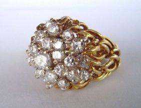 1008: 18k Gold & Diamond Cocktail Ring,