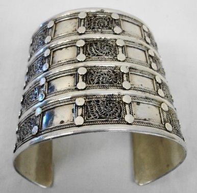 1010: Sterling Silver Etruscan style Cuff Bracelet