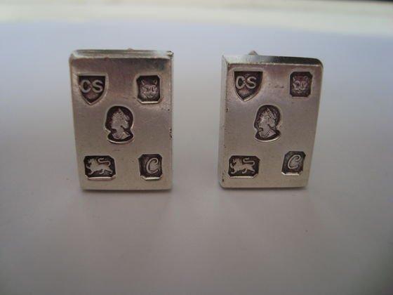 1011: Sterling cufflinks with British Hallmarks