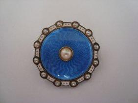 14k Gold & Enamel Pin/pendant W/ Pearls