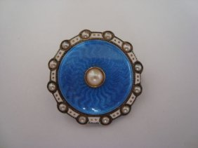 1012: 14k gold & enamel pin/pendant w/ pearls