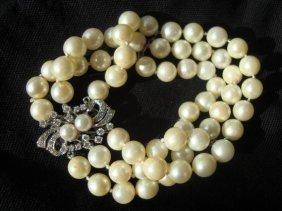1008A: 14k White Gold, Diamond & Pearl Bracelet