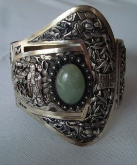 1010A: French Indo-China Silver Cuff, Jade Cabachon