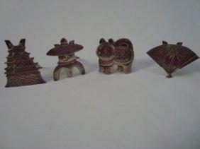 4 Japanese Sterling Placecard Holders