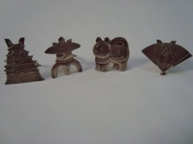 1011A: 4 Japanese Sterling Placecard Holders