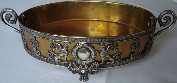 1016A: Sterling Console Bowl w/ Griffins, Brass insert