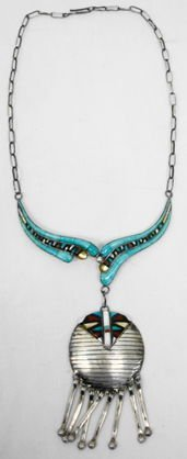 1010B: Sterling necklace w/ Turquoise, MOP & Onyx