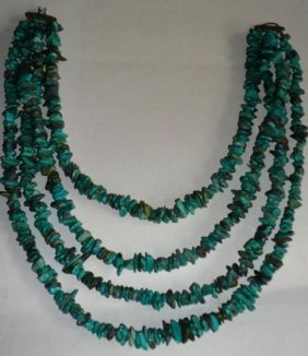 1016B: Turquoise 4-Strand Nugget Necklace, c. 1950's