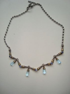 "1014: Lagos ""Caviar"" 18k Gold & Sterling Necklace"