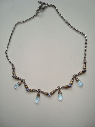 """1014: Lagos """"Caviar"""" 18k Gold & Sterling Necklace"""
