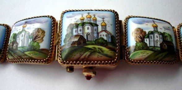 1016: Russian Enamel 17 Jewel Watch, Yanka