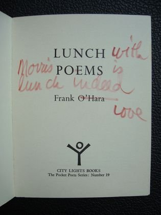 "1042: Frank O'Hara ""Lunch Poems"" Book, signed - 2"