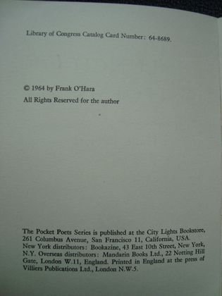 "1042: Frank O'Hara ""Lunch Poems"" Book, signed - 3"