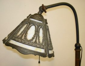 Bradley & Hubbard Floor Lamp, Slag Glass Shade