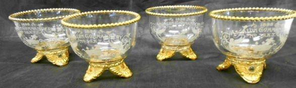 1003: Set of 4 1898 Ascalon Commandery Finger Bowls