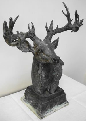 1010: Japanese Stag Statue, White Metal, Bronzed Finish
