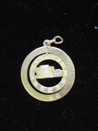 1013A: 14k Gold & Diamond Hadassah Charm/ pendant