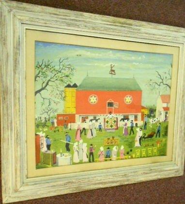 "1005A: Folk Art Amish Painting, ""Quilt Sale"""