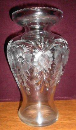 Tuthill Intaglio Cut Glass Vase, Signed